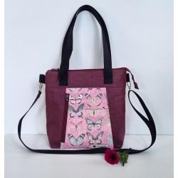 Handtasche weinrot/rosa
