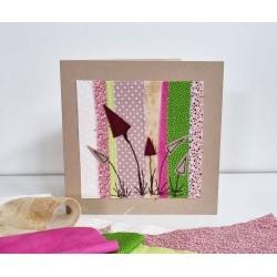 Textilkarte rosa/hellgrün